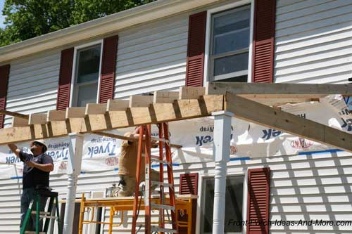 Integrate shingles on new porch roof with existing for Building a front porch deck