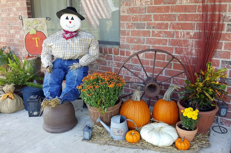 traditional scarecrow man in jeans and plaid shirt