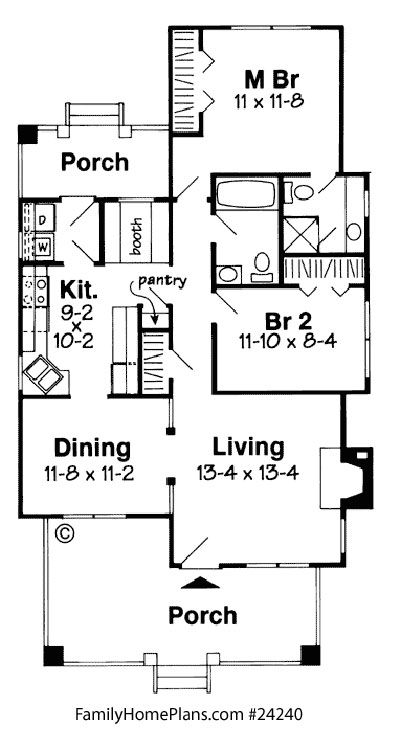 diagram of bungalow floor plan 24240