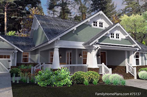 charming bungalow house plans 75137 from familyhomeplans.com