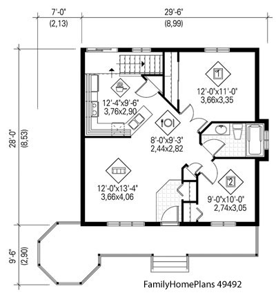 bungalow home and veranda porch plan from Family Home Plans 49492