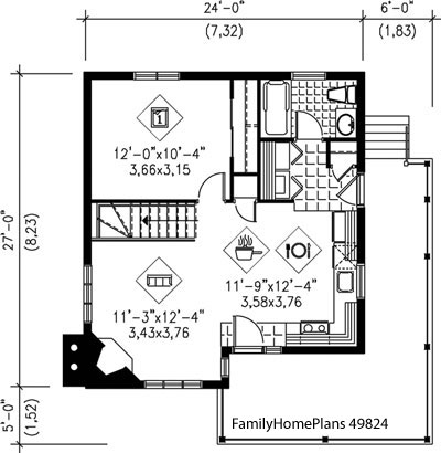 bungalow home and porch plan from Family Home Plans 49824