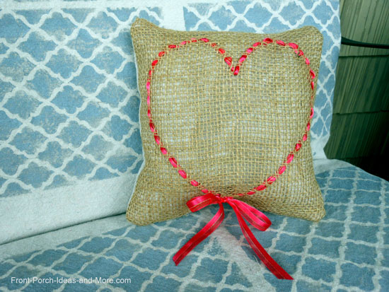 Burlap ribbon pillow as inspired by Maryann of Domestically Speaking