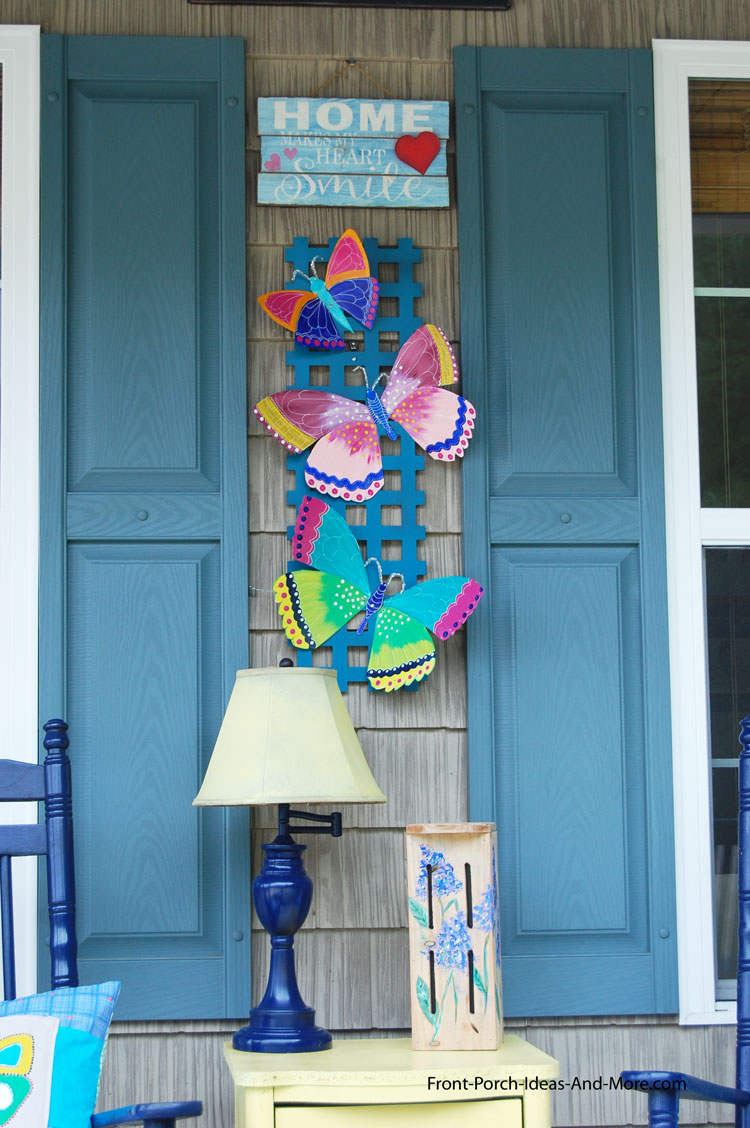 painted butterfly porch decorations
