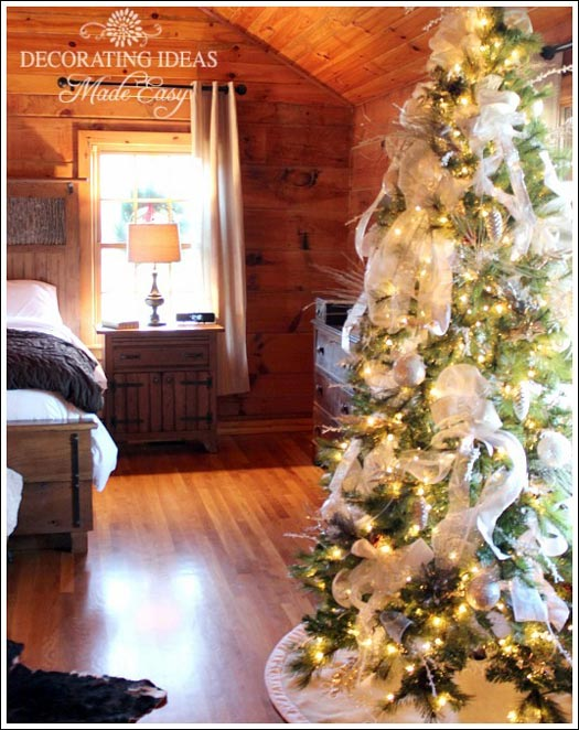 romantic Christmas tree in the rustic bedroom