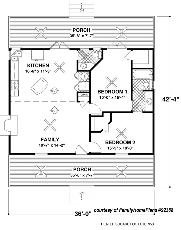 Family Home Plan #92388. Small Cabin House ...
