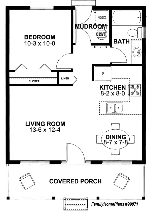 Enjoyable One Bedroom Cottage Floor Plans Largest Home Design Picture Inspirations Pitcheantrous