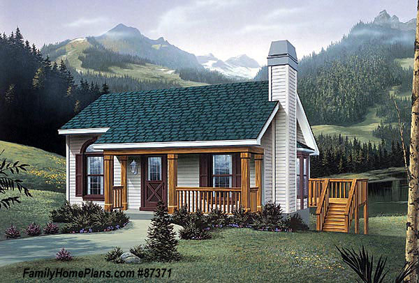 small cabin house plan by family home plans 87371