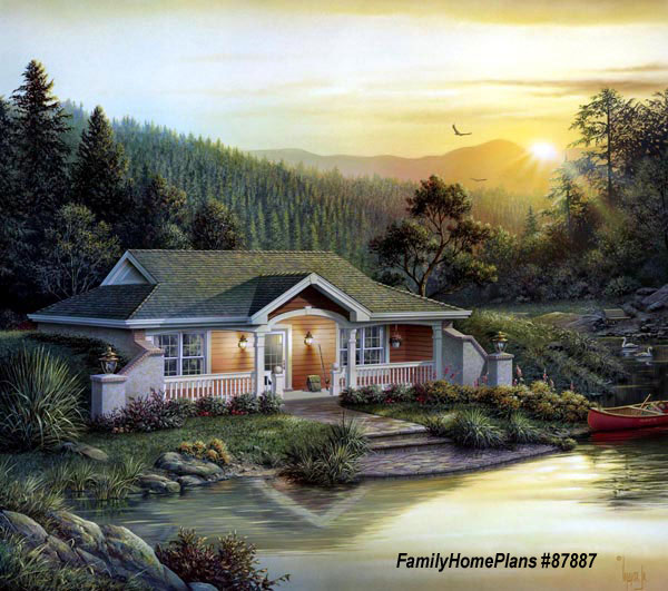 small cabin house plan by family home plans 87887