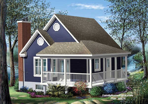 Small cottage with porch from family home plans 49824