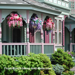 Victorian porch with beautiful hanging baskets