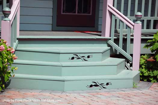 Uniquely Designed And Painted Front Porch Steps