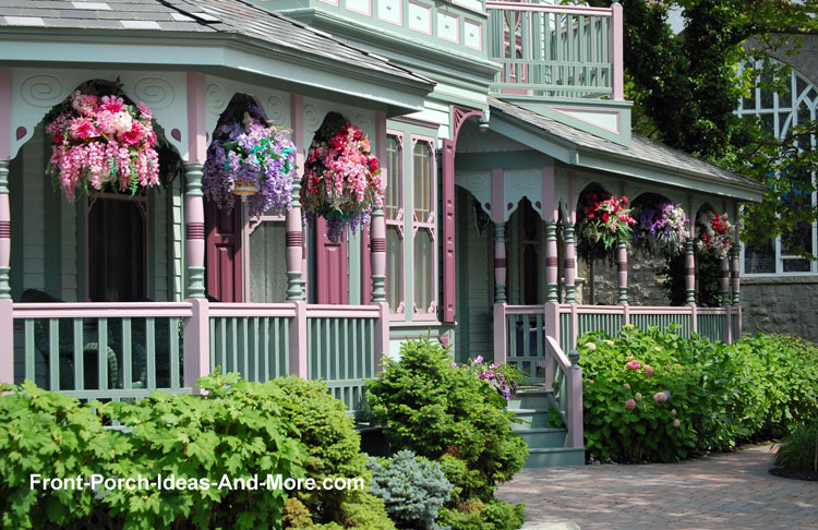 Victorian Porch With Colorful Hanging Baskets