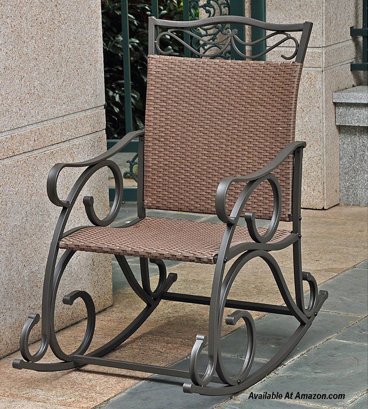 wrought iron matte brown rocking chair available at Amazon.com