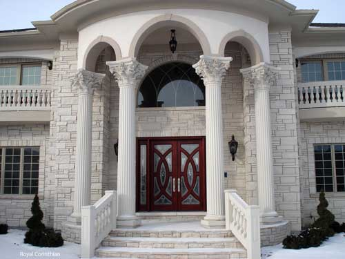 cast stone columns on elegant front porch