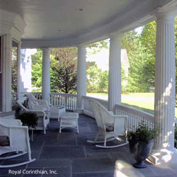 cast stone columns on round front porch