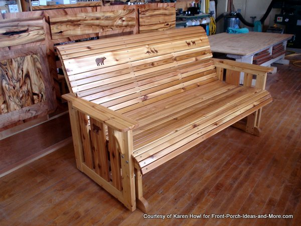 Porch glider made of cedar wood