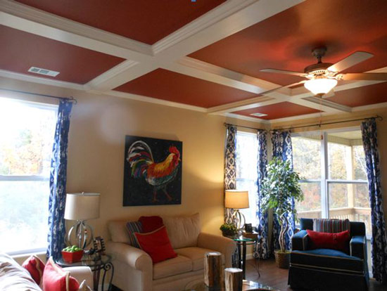 coffered ceiling on model home