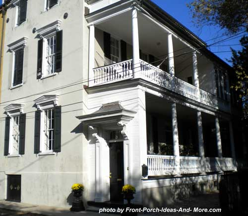 Charleston Side Porch with pediment over entrance