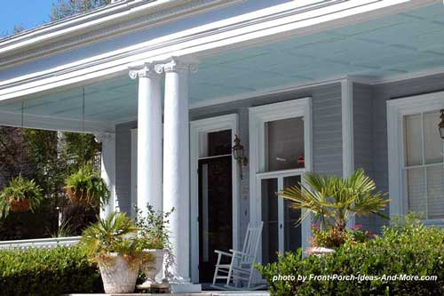 haint blue porch ceiling and ionic porch columns