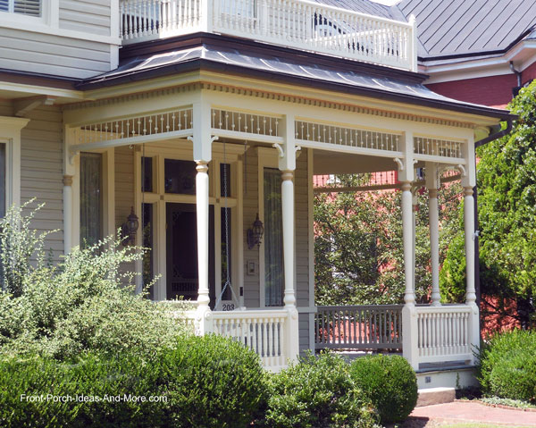 Beautiful blue home with Vintage Woodworks porch railings