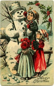 Children with snowman - vintage image from Old Design Shop
