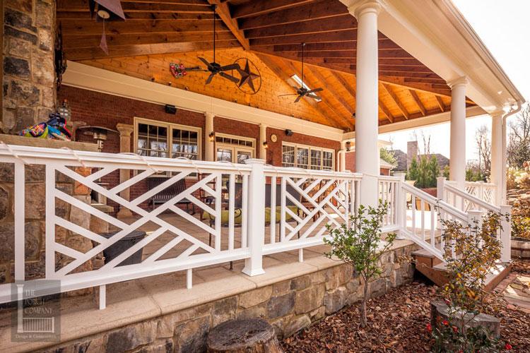 custom vinyl porch railings on front porch