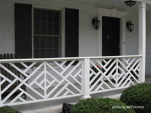 Wood deck railings porch railing designs wood balusters for Front balcony railing
