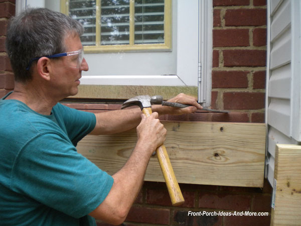 chiseling out groove in corner for ledger flashing