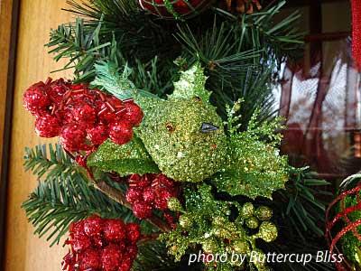 close up of front door wreath