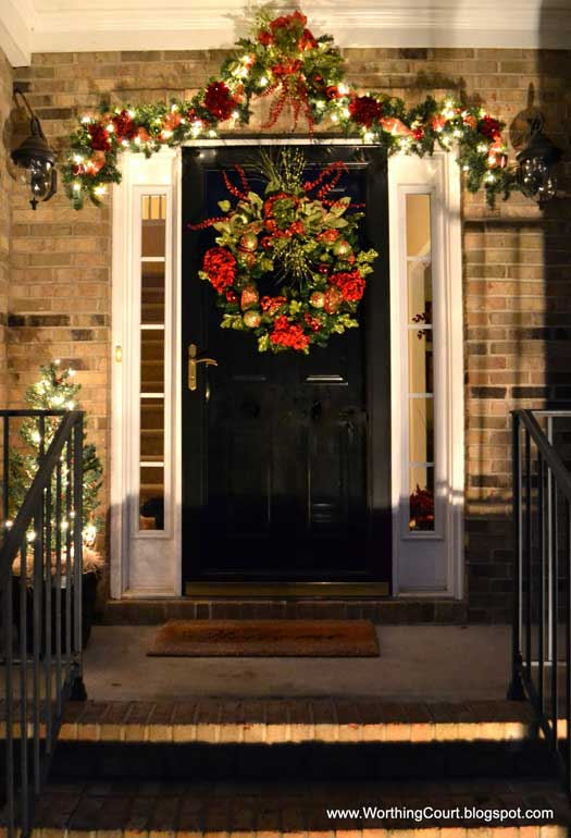 elegant garland and front door wreath for christmas - Front Porch Christmas Decorations Ideas