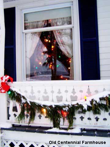 Outside Christmas decorations at Joni's farmhouse