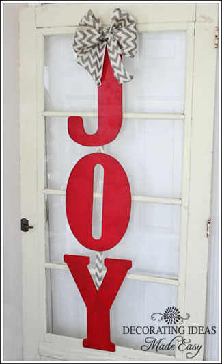 Christmas door decor from JenniferDecorates.com