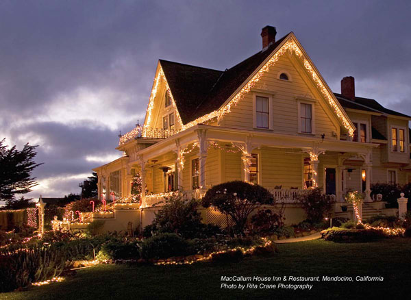 Christmas lights on MacCallum House Inn & Restaurant; photo by Rita Crane Photography