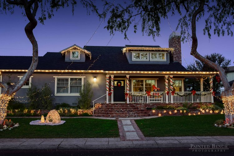 candy cane front porch columns and lights for christmas