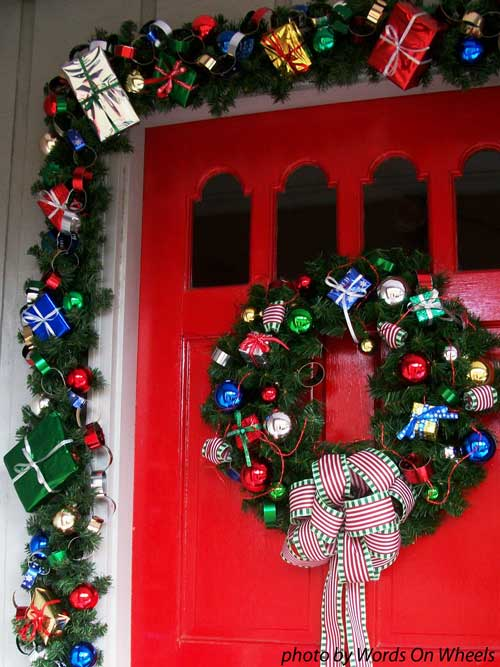 Colorful bow on front door wreath