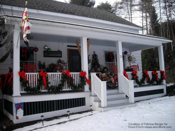 snowy christmas porch by patricia berger - Christmas Porch Railing Decorations