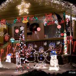 Christmas lights on the front porch and lawn