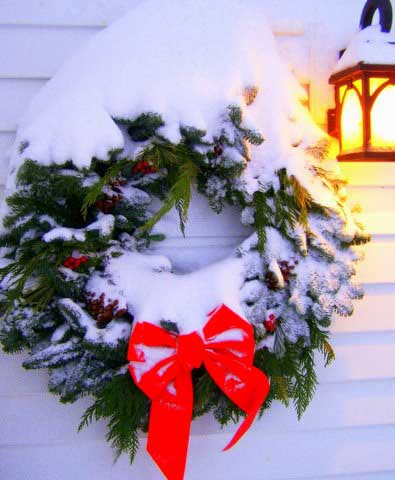 Outside Christmas decorations - gorgeous snowy wreath
