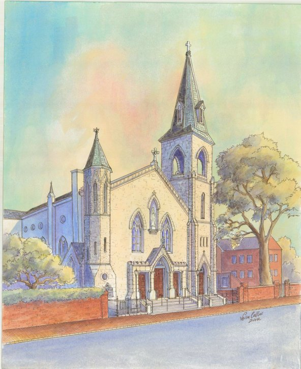 The church where a couple was married - watercolor by Leisa Collins