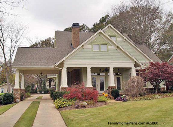 classic craftsman bungalow and front porch from Family Home Plans 65800