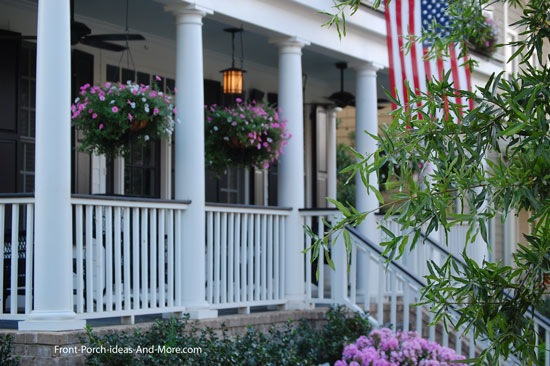 all American front porch with flag
