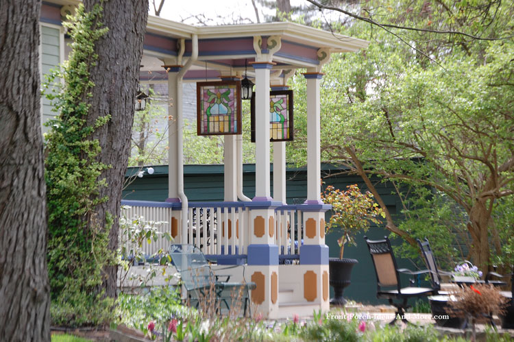 colorful porch balustrade and columns