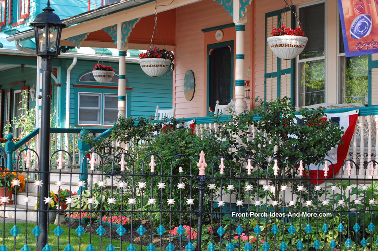 colorful porch columns on Victorian front porch