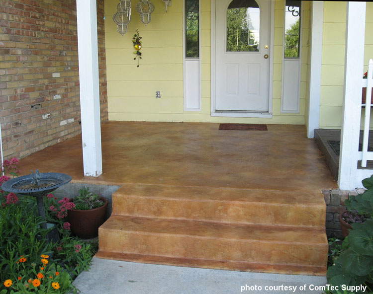 Concrete Stained Porch Floor With Brick Steps