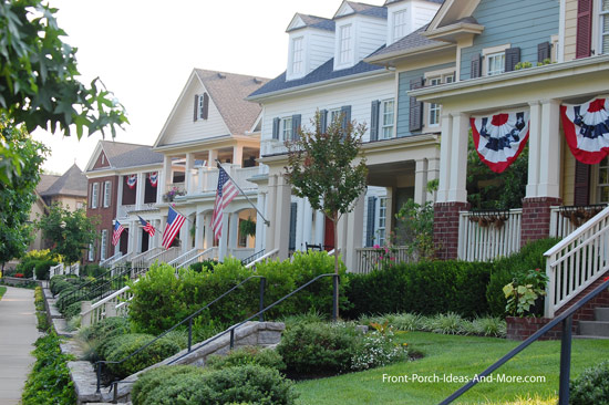 country porches on homes in community designed neighborhood