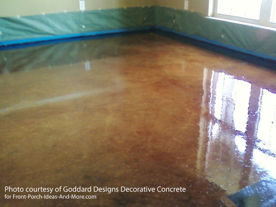 concrete staining after removing carpet