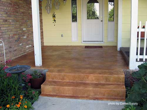 tan concrete porch stain to complement yellow home