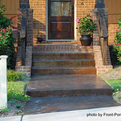stained concrete porch and walk way
