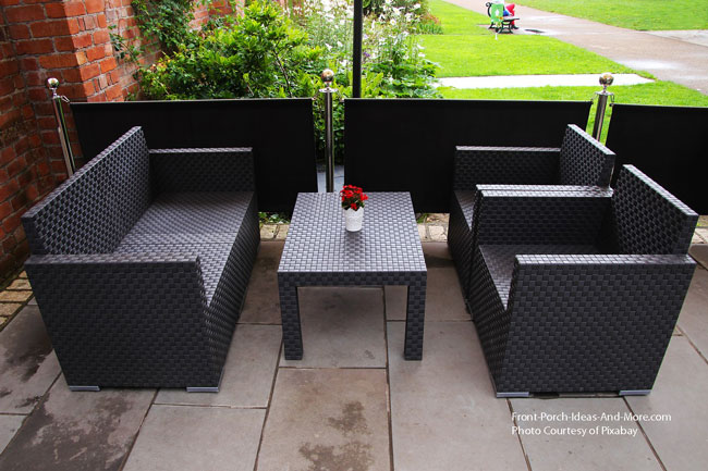 contemporary patio design with faux wicker furniture